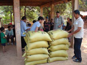 10 gelbe Säcke prall gefüllt mit Reis warten auf ihre neuen Besitzer.